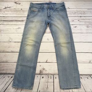 Diesel larkee straight leg button fly denim jeans